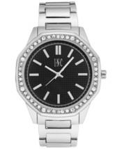 I.N.C. Men's Silver Tone Black Crystals Octagonal Link Bracelet 45mm Watch NIB