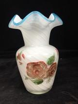 "6"" Fenton Cased Glass Hand Painted Roses & Flowers Vase w/ Blue Ruffled Rim - $37.61"