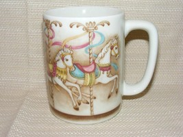 Vintage OTAGIRI Japan Coffee Mug Cup Horses Ribbons Carousel C3 - $12.00