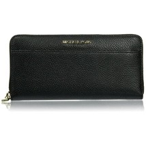NWT MICHAEL KORS Mercer Zip Around Large Leather Wallet Clutch Black 32S... - $134.64