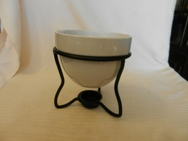 White Ceramic Butter Warmer or Potpourri Warmer With Black Metal Stand - $29.70