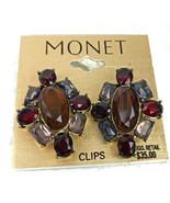 Vintage Signed Monet Rhinestone Rootbeer Tones Clip-on Earrings - $13.53