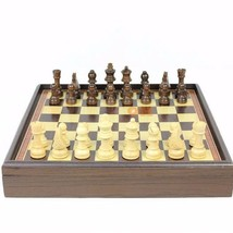 Wooden Chess Board Table Folding Box Game Vintage Natural Chessmen Piece... - $61.68