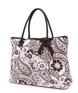 Belvah quilted monogramable paisley large tote handbag purse QPF2705(PKB... - $27.00