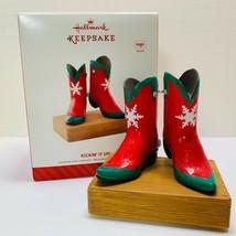 Hallmark Keepsake Ornament Kickin' It Up Musical Red and Green Cowboy Bo... - $11.30