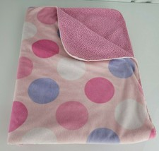 Just Born Pink Purple White Polka Dot Baby Blanket Sherpa Security Lovey - $29.20