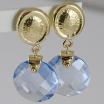 SOLID 18K YELLOW GOLD PENDANT EARRINGS OVALS WITH 13 CARATS CUSHION BLUE TOPAZ image 2