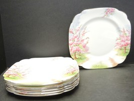 Seven Royal Albert Square Salad Plates - Blossom Time Pattern - $94.99