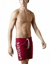 Lacoste Men's Premium Surf Swim Trunks Board Shorts Bordeaux Red image 5