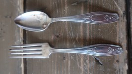 "Vintage Nickel Silver Spoon 5.25"" and Fork 5.5"" - $5.94"