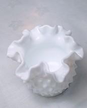 "Fenton Hobnail Milk Glass Fluted Ruffled Edge 3"" Vase - $17.99"