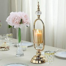 Gold Metal Loop Glass Hurricane Votive Candle Holder with Acrylic Crystal TkFavo - $63.36