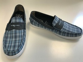 COLE HAAN Mens NEW Pinch MADRAS Blue Canvas Plaid Loafer NO BOX Shoes Sz 8 - $60.73