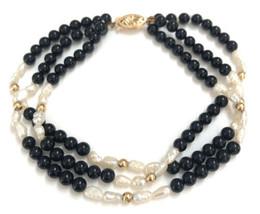 VTG Imperial World Inc 14K Gold Round Ball Black Onyx & Pearl Beaded Bra... - $64.34