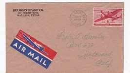 BELMONT STAMP CO. DALLAS TEXAS AUG 6 1949 AIR MAIL  - $1.98