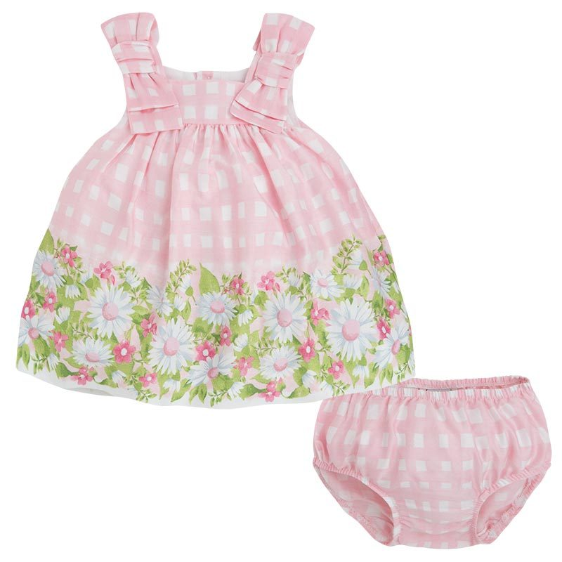 Mayoral Baby Girls 3M-24M Pink Bow Shoulder Check Plaid Border Print Dress