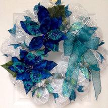 Peacock Blue Beaded Holiday Or Winter Deco Mesh Wreath Handmade - $89.99