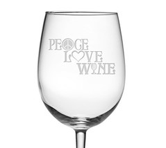 Fineware Peace, Love & Wine 19 oz Wine Glass Etched with Peace Symbol, H... - $22.29