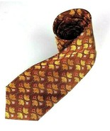 Jos. A. Bank Men's Silk Tie Gold Bronze Orange Design Made in Italy - $16.82