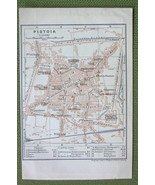 1906 MAP ORIGINAL Baedeker - ITALY Pistoia City Plan - $4.73