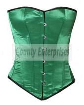 Full Steel Boned Overbust Victorian Bustier Shaper Gothic Green Satin Co... - $49.98+