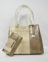 NWT SET of Brahmin Joan Leather Tote in Latte Buena Vista + Checkbook Wa... - $429.00