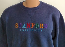 Vtg 80s Stanford University Spell Out Russell USA Sweatshirt L 50/50 Blue  - $38.61