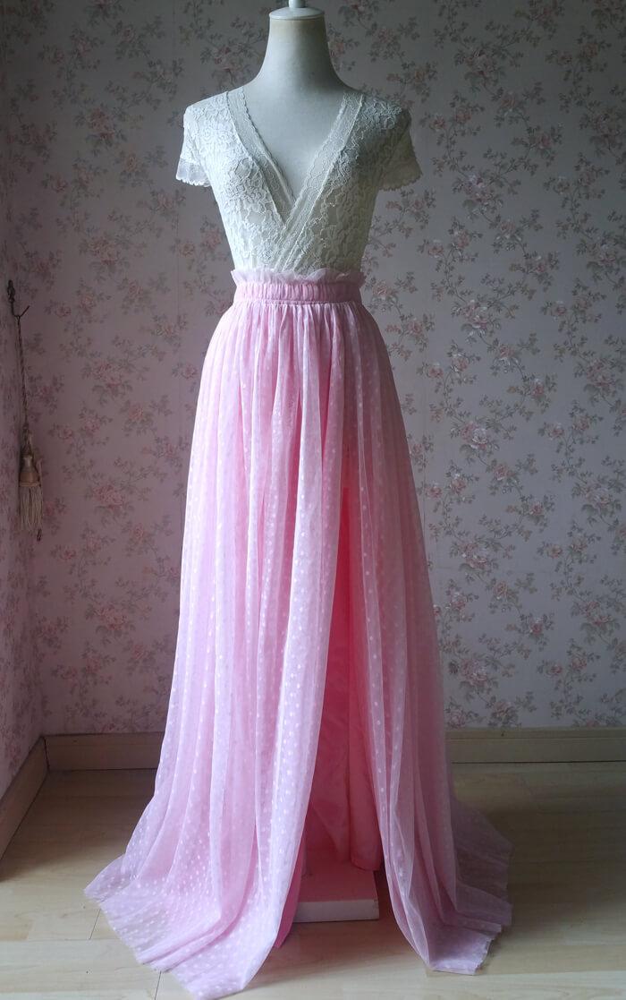 Pink dot tulle skirt slit 1