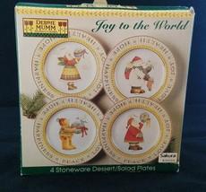 4 Debbie Mumm Sakura Joy To The World Dessert Salad Plates in Original Box - $14.50