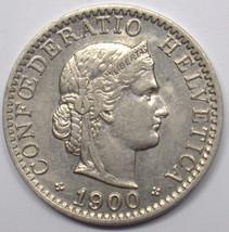 1900 B SWITZERLAND 20 RAPPEN NICKEL COIN AU #DBW - $9.00