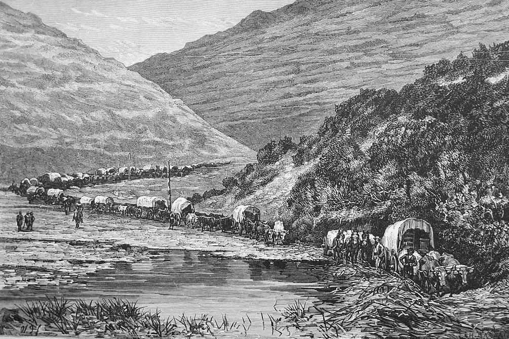 CARAVAN of Immigrants Passing Through Canyon  - 1882 Wood Engraving
