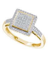 10k Yellow Gold Womens Round Diamond Square Frame Cluster Ring 1/3 Cttw - $400.00