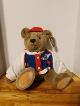 """Vintage Bialosky By Gund 18"""" Teddy Bear 1982 Baseball Jacket Red Hat Jointed - $46.75"""