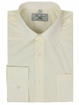 Boltini Italy Men's Ivory Long Sleeve Barrel Cuff Dress Shirt (Ivory, 4XL) image 1