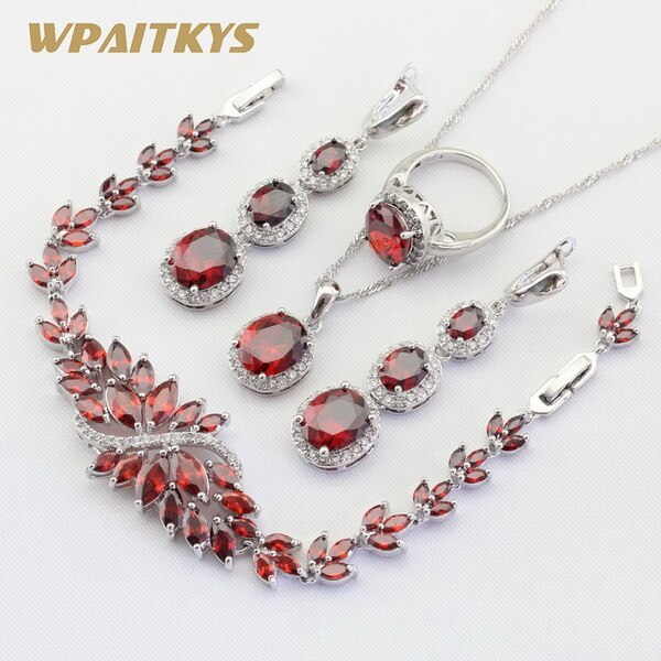 Primary image for Exquisite Red Crysta lNecklace Pendant Earrings Ring Bracelet Silver Color Jewel
