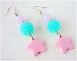 Pink Star Earrings, Teal and Lavender Beading, Dangle, Silver Plated - F... - $6.50