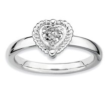 STERLING SILVER STACKABLE EXPRESSIONS HEART DIAMOND RING - SIZE 7 - £36.59 GBP