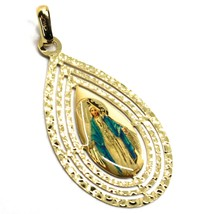 18K YELLOW DROP GOLD BIG 35mm MIRAULOUS MEDAL VIRGIN MARY TRIPLE WORKED FRAME image 2