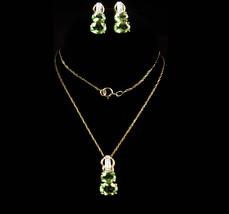 vintage 10kt Peridot necklace - gold genuine diamond earrings - August b... - $295.00