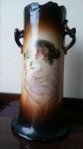 Antique Art Nouveau Maiden Vase Warwick IOGA Alphonse Mucha Style Girl 1... - $55.10