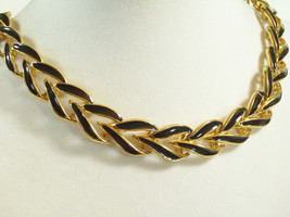 Napier Gold Plated Black Enamel Curb Link Chain Choker Necklace Extensio... - $22.72