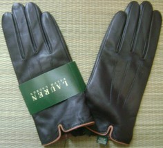 RALPH LAUREN WOMEN'S GLOVES 100% GENUINE LEATHER/CASHMERE LARGE DARK BRO... - $114.50