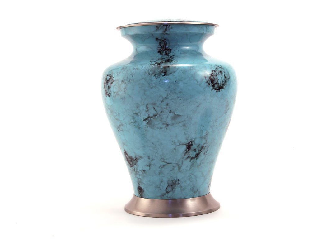 Large Funeral Cremation Urn for ashes, 200 Cubic Inches - Glenwood Blue Marble