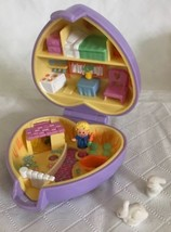 Polly Pocket Pet Parade Pretty Bunnies Purple Compact Fuzzy 1993 Vintage... - $31.67