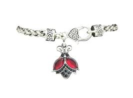 Ladybug Red Black Crystal Fashion Chain Silver Bracelet Jewelry Sorority - $12.65