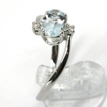18K WHITE GOLD BAND RING AQUAMARINE 0.65 OVAL CUT & DIAMONDS, MADE IN ITALY image 3