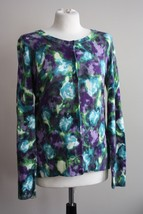 NWOT Talbots M Watercolor Floral Button Front Crew Neck Soft Cardigan Sweater - $28.49
