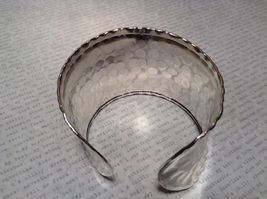 Hammered Wide Cuff Silver Plated 925 Sterling Silver Handcrafted Bracelet image 5