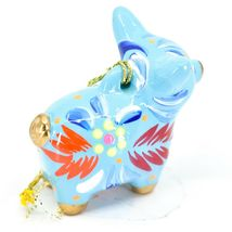 Handcrafted Painted Ceramic Blue Pig Confetti Ornament Made in Peru image 5