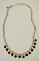 J. Crew Necklace Black Clear Rhinestone Gold Tone Chain - $24.75